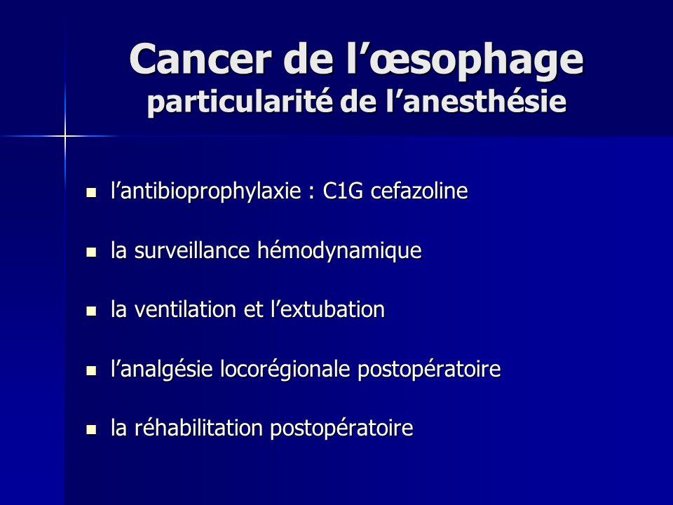Cancer de l'œsophage particularité de l'anesthésie