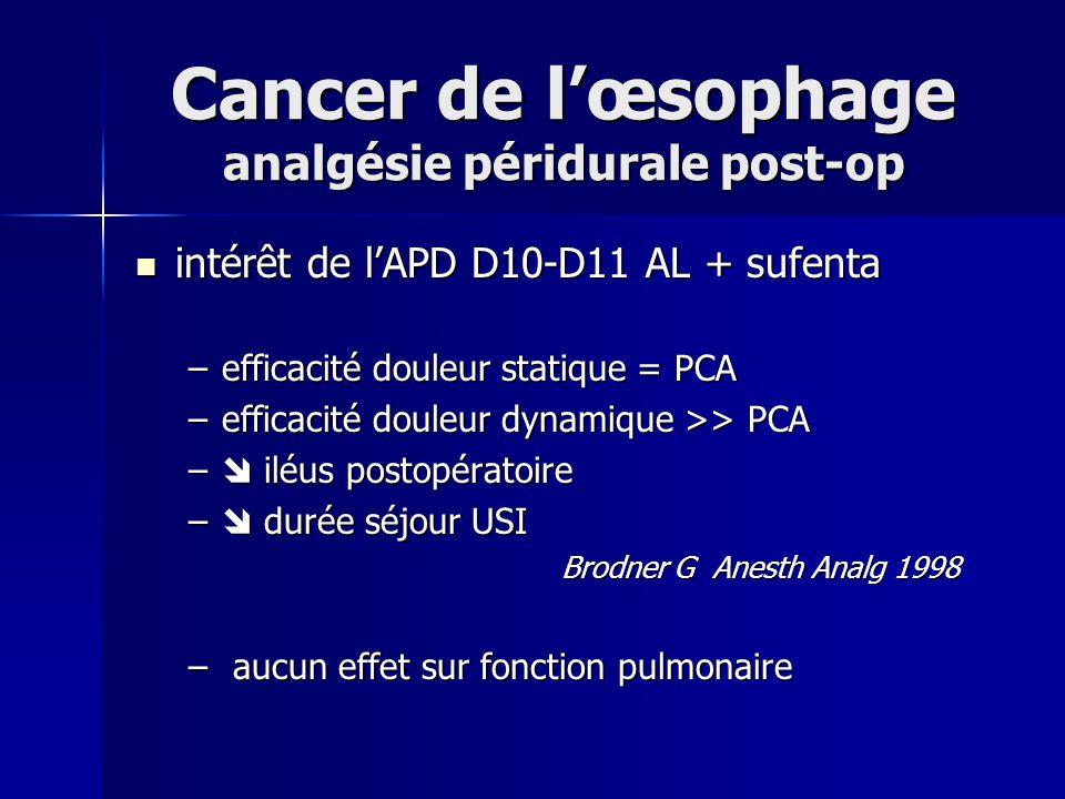 Cancer de l'œsophage analgésie péridurale post-op
