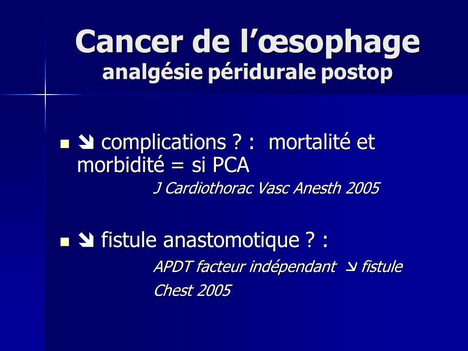 Cancer de l'œsophage analgésie péridurale postop