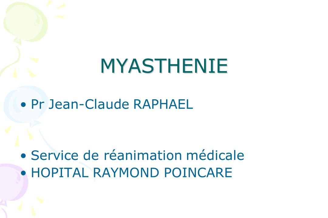 MYASTHENIE Pr Jean-Claude RAPHAEL Service de réanimation médicale