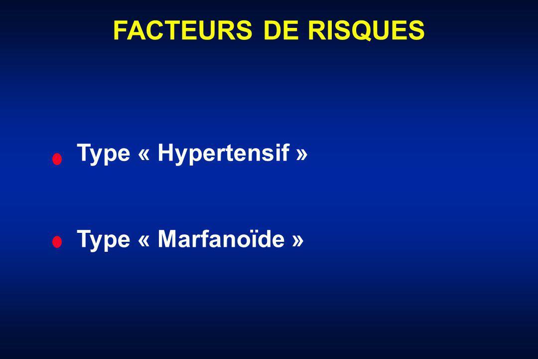 FACTEURS DE RISQUES Type « Hypertensif » Type « Marfanoïde »