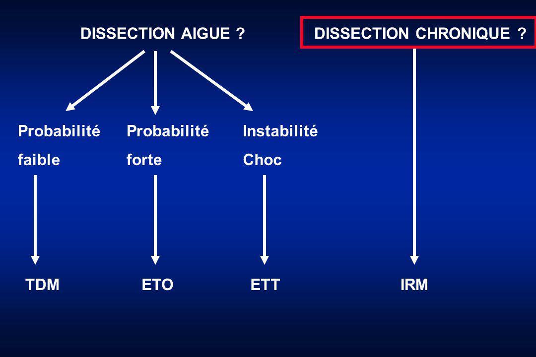 DISSECTION AIGUE DISSECTION CHRONIQUE Probabilité. faible. Probabilité. forte. Instabilité.