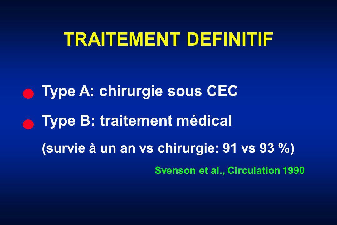 TRAITEMENT DEFINITIF Type A: chirurgie sous CEC