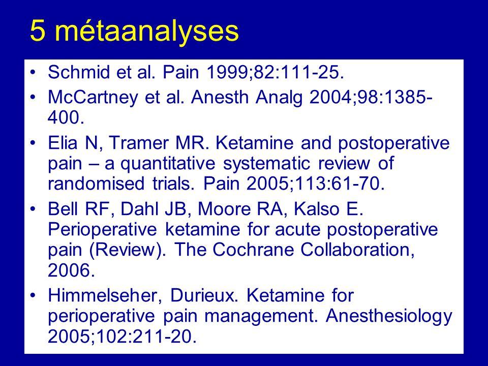 5 métaanalyses Schmid et al. Pain 1999;82:111-25.