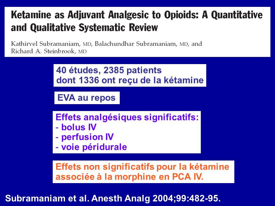 40 études, 2385 patients dont 1336 ont reçu de la kétamine. EVA au repos. Effets analgésiques significatifs: