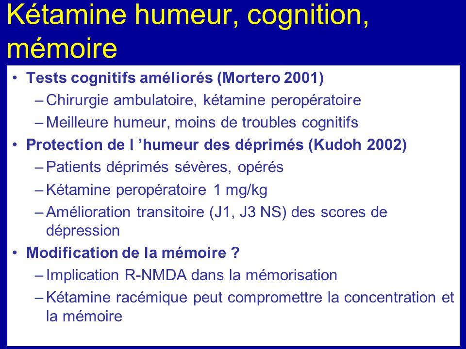 Kétamine humeur, cognition, mémoire