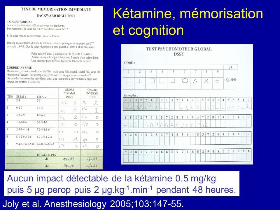 Kétamine, mémorisation et cognition