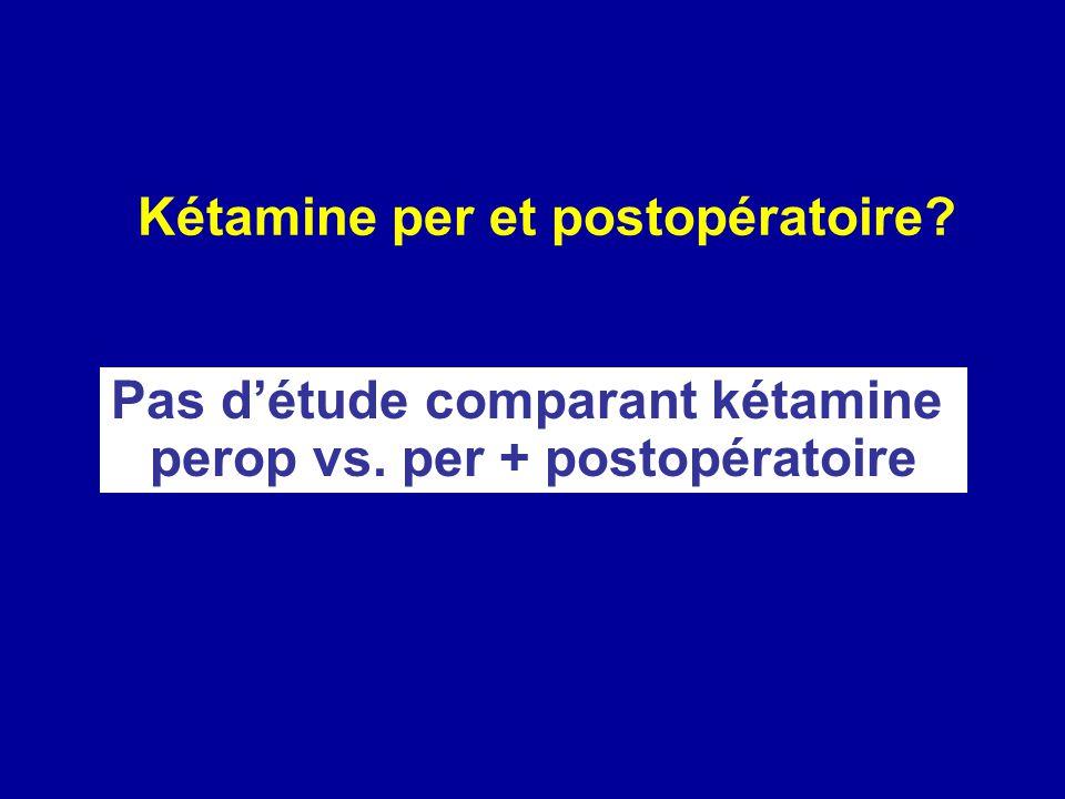 Pas d'étude comparant kétamine perop vs. per + postopératoire