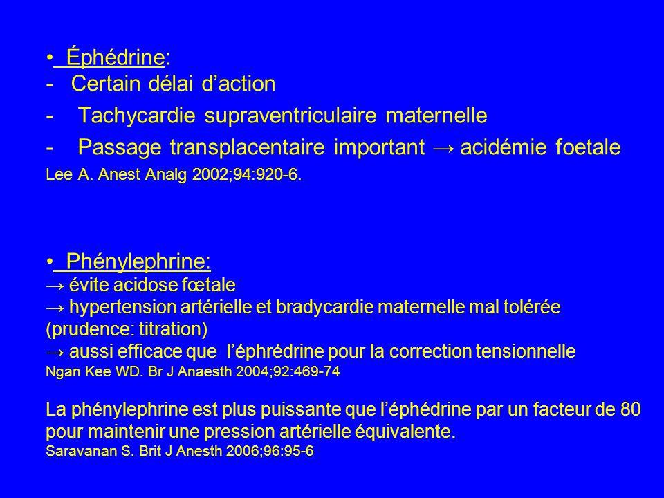 Certain délai d'action - Tachycardie supraventriculaire maternelle