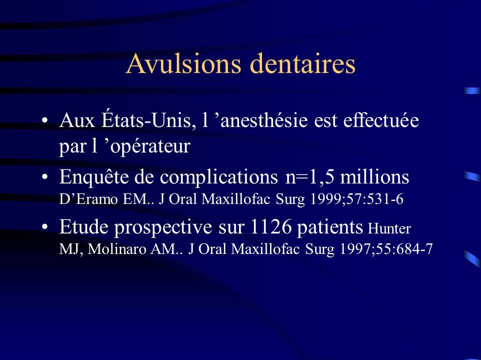 Avulsions dentaires Aux États-Unis, l 'anesthésie est effectuée par l 'opérateur.