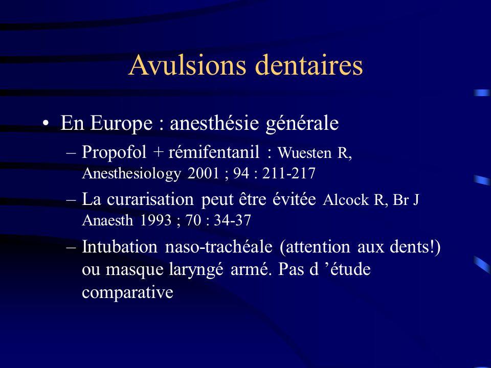 Avulsions dentaires En Europe : anesthésie générale