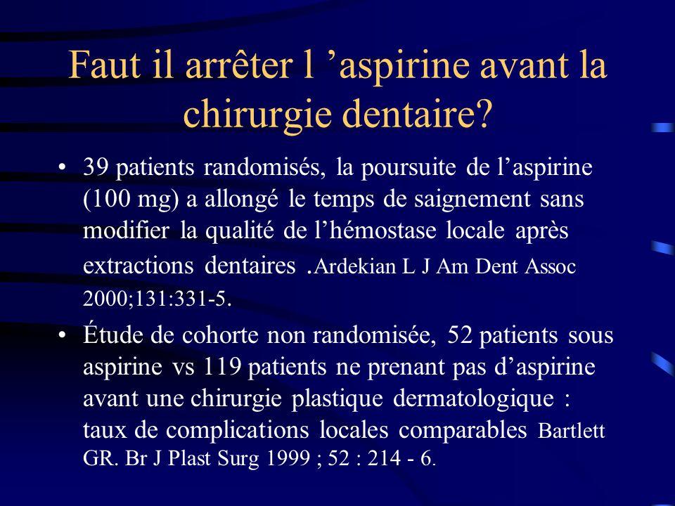 Faut il arrêter l 'aspirine avant la chirurgie dentaire