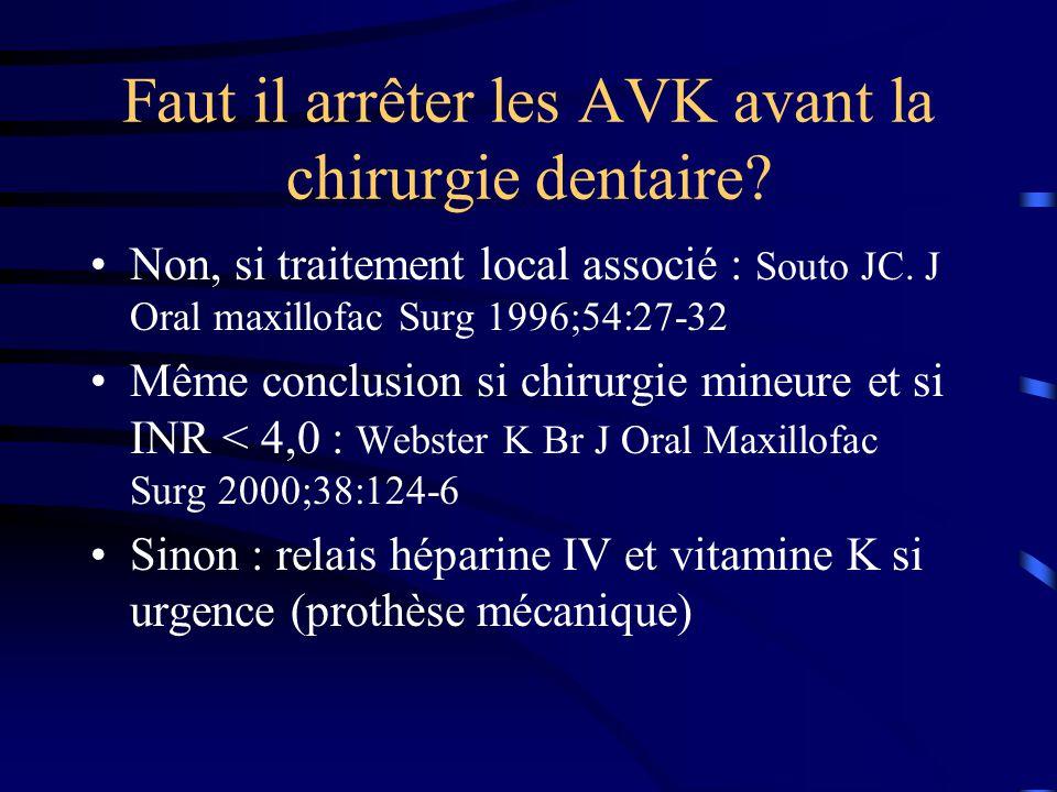 Faut il arrêter les AVK avant la chirurgie dentaire