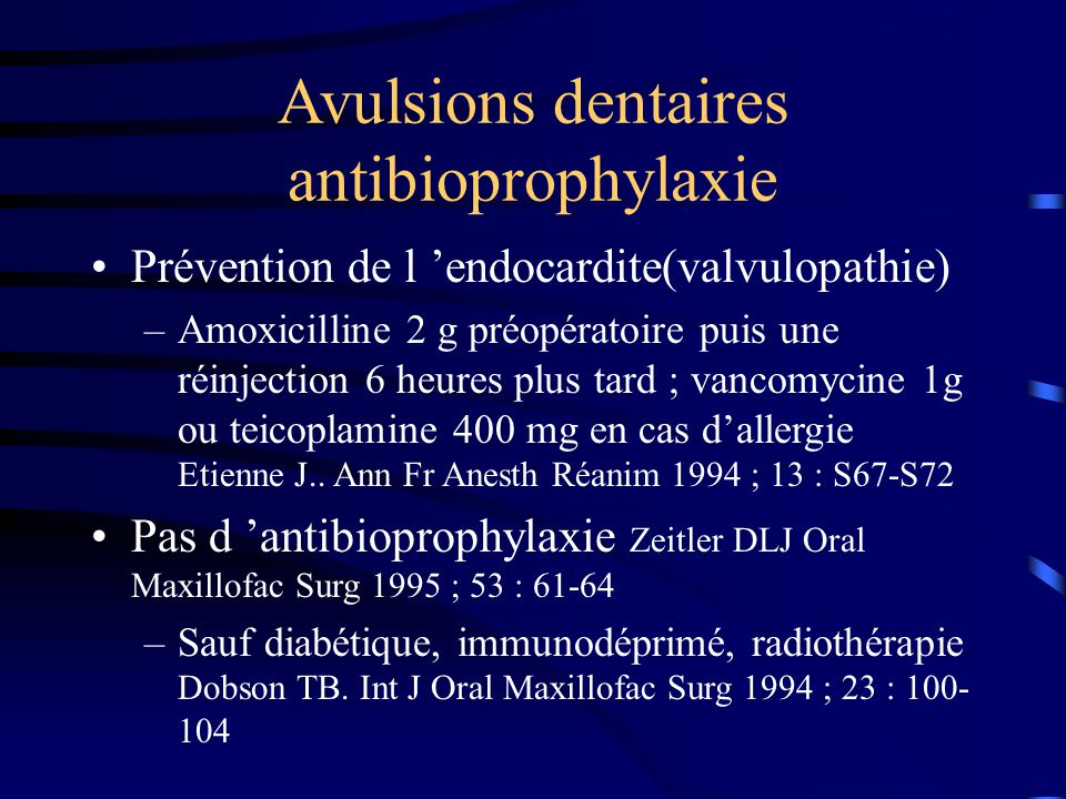 Avulsions dentaires antibioprophylaxie