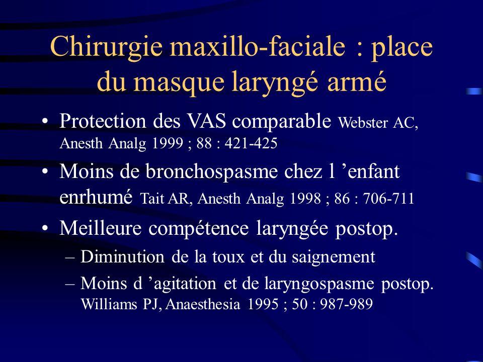 Chirurgie maxillo-faciale : place du masque laryngé armé