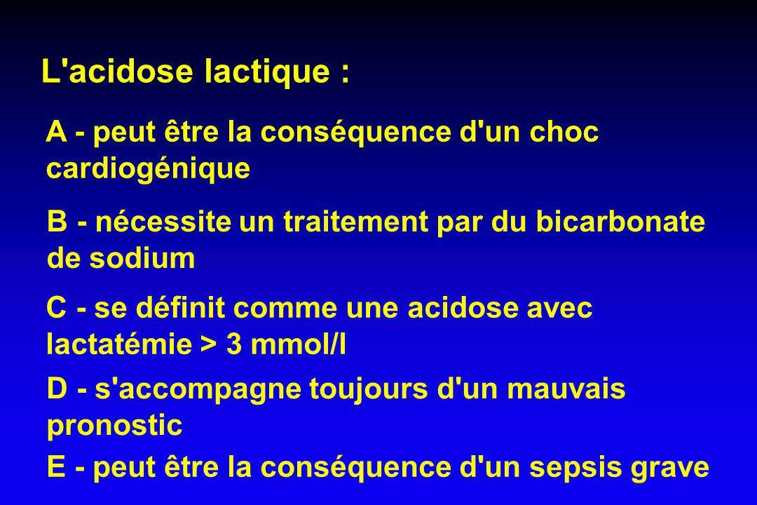 L acidose lactique : A - peut être la conséquence d un choc cardiogénique. B - nécessite un traitement par du bicarbonate de sodium.