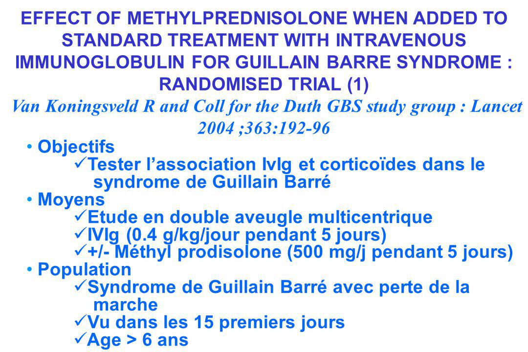 EFFECT OF METHYLPREDNISOLONE WHEN ADDED TO STANDARD TREATMENT WITH INTRAVENOUS IMMUNOGLOBULIN FOR GUILLAIN BARRE SYNDROME : RANDOMISED TRIAL (1) Van Koningsveld R and Coll for the Duth GBS study group : Lancet 2004 ;363:192-96