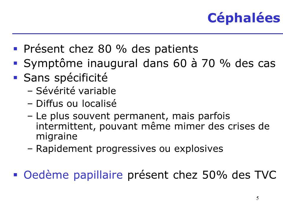 Céphalées Présent chez 80 % des patients