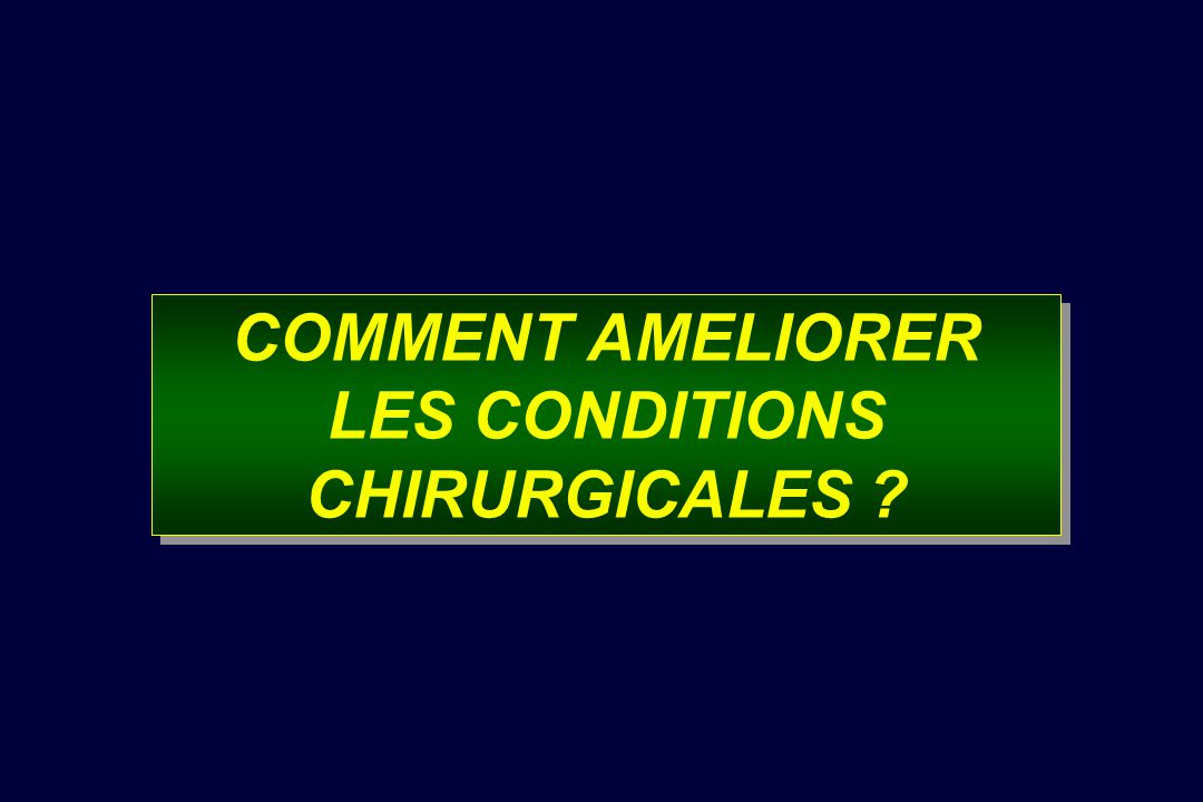 COMMENT AMELIORER LES CONDITIONS CHIRURGICALES