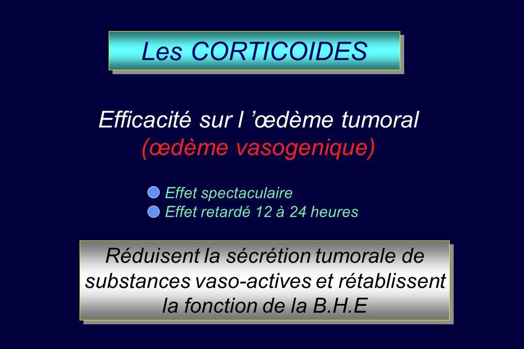 Les CORTICOIDES Efficacité sur l 'œdème tumoral (œdème vasogenique)