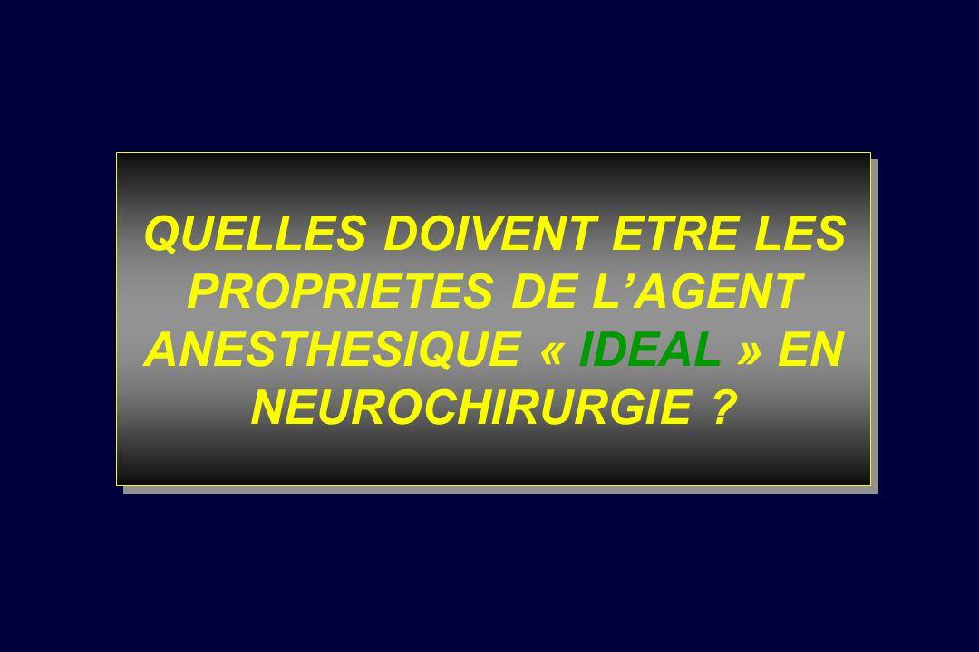 QUELLES DOIVENT ETRE LES PROPRIETES DE L'AGENT ANESTHESIQUE « IDEAL » EN NEUROCHIRURGIE