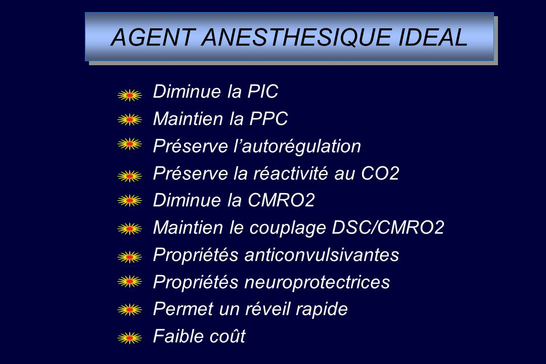 AGENT ANESTHESIQUE IDEAL