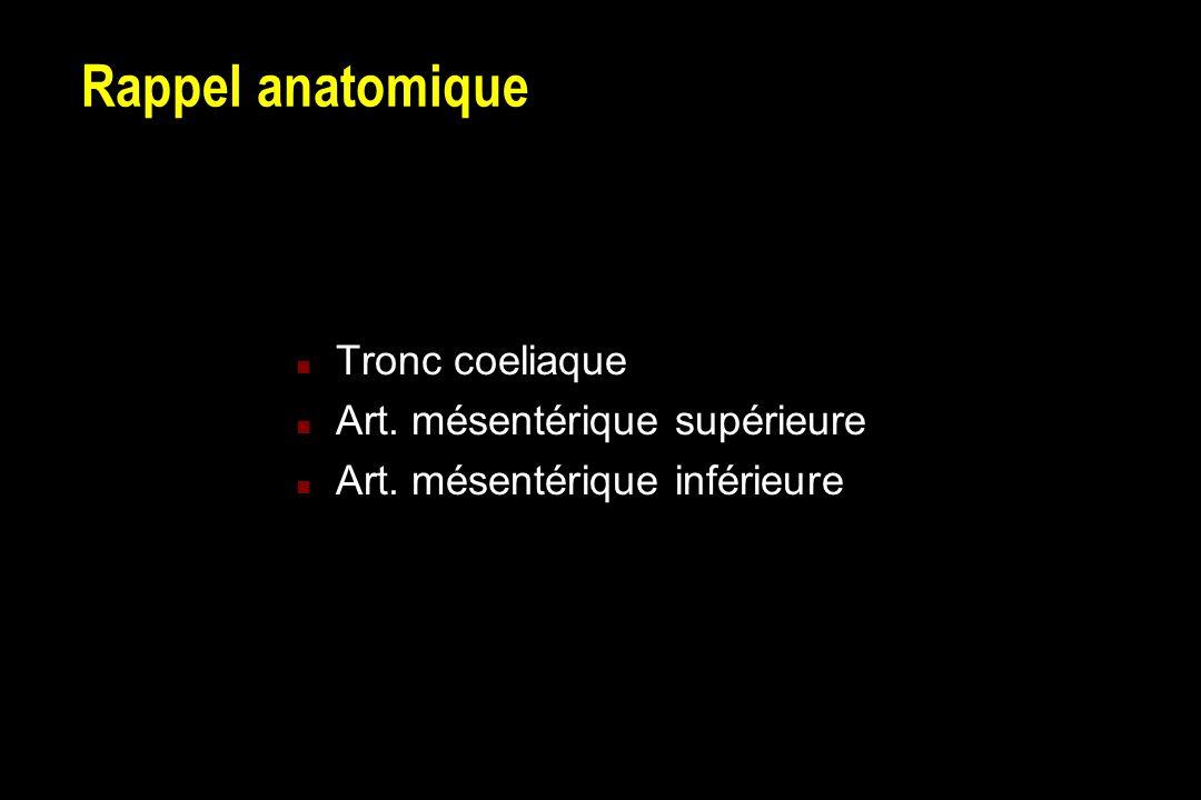 Rappel anatomique Tronc coeliaque Art. mésentérique supérieure
