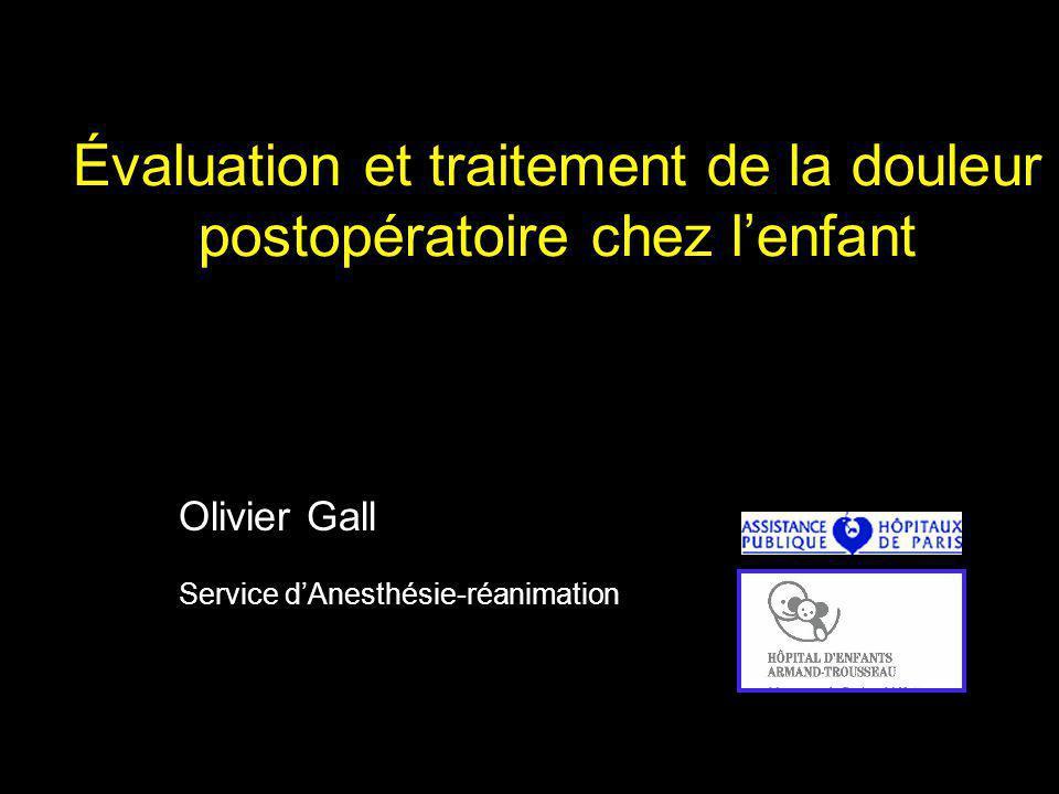 Évaluation et traitement de la douleur postopératoire chez l'enfant