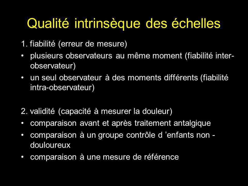 Qualité intrinsèque des échelles