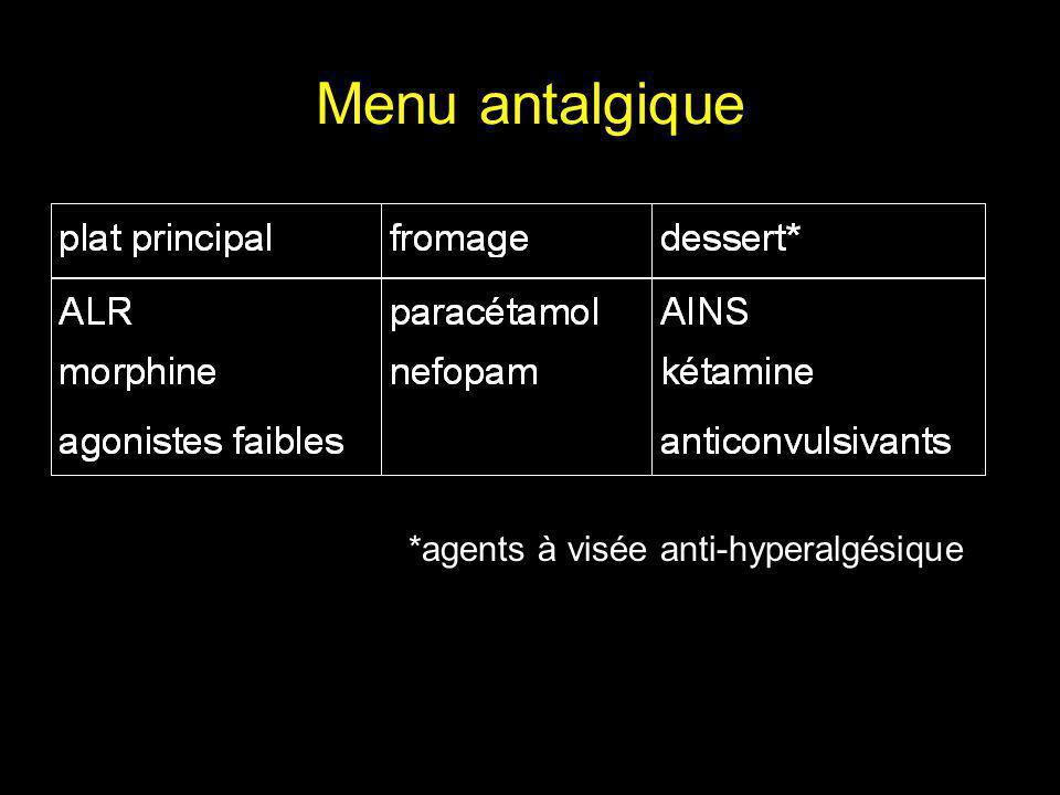Menu antalgique *agents à visée anti-hyperalgésique