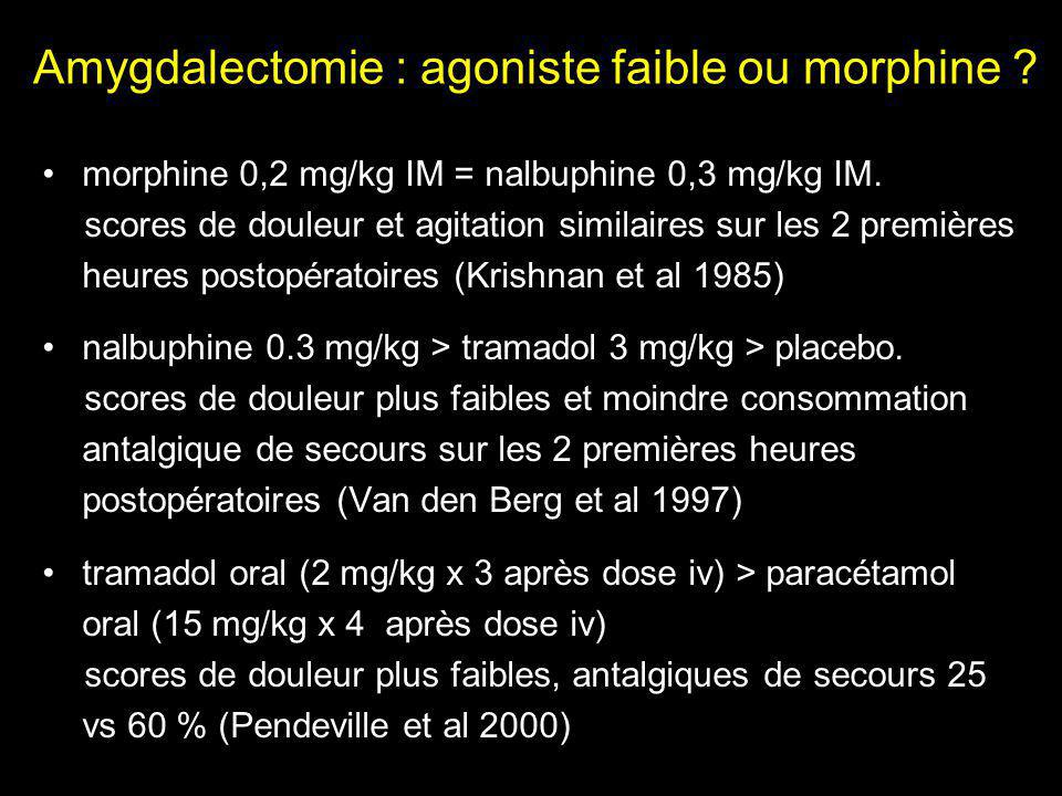 Amygdalectomie : agoniste faible ou morphine