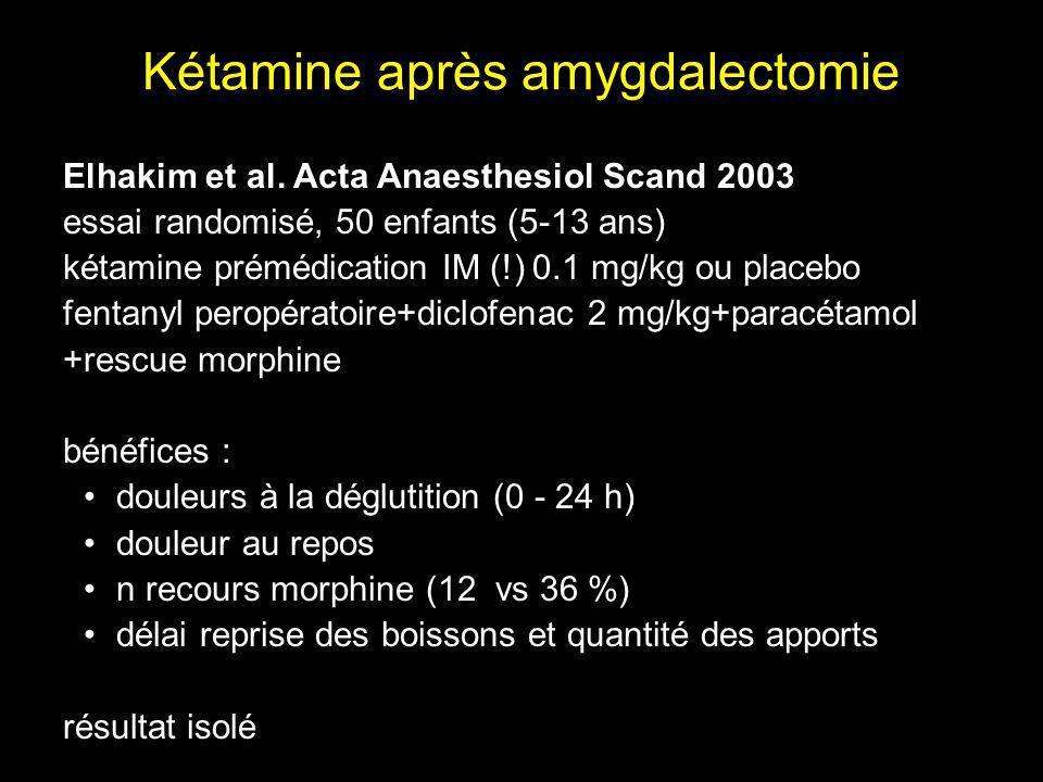 Kétamine après amygdalectomie