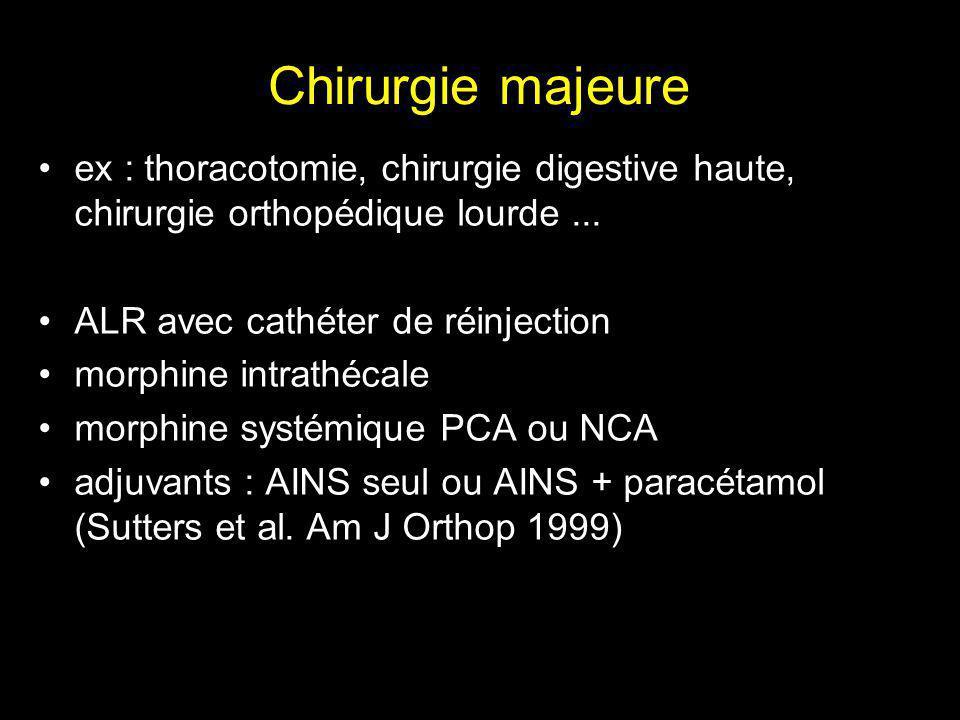 Chirurgie majeure ex : thoracotomie, chirurgie digestive haute, chirurgie orthopédique lourde ... ALR avec cathéter de réinjection.