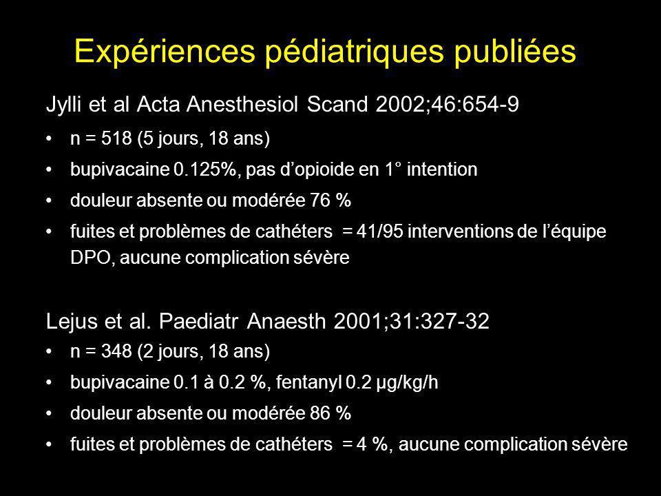 Expériences pédiatriques publiées