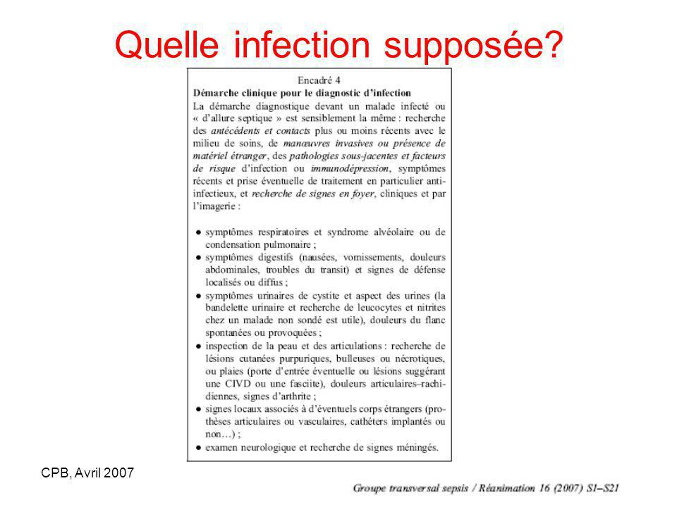 Quelle infection supposée