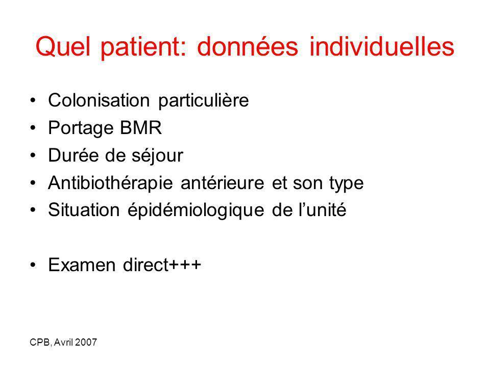 Quel patient: données individuelles