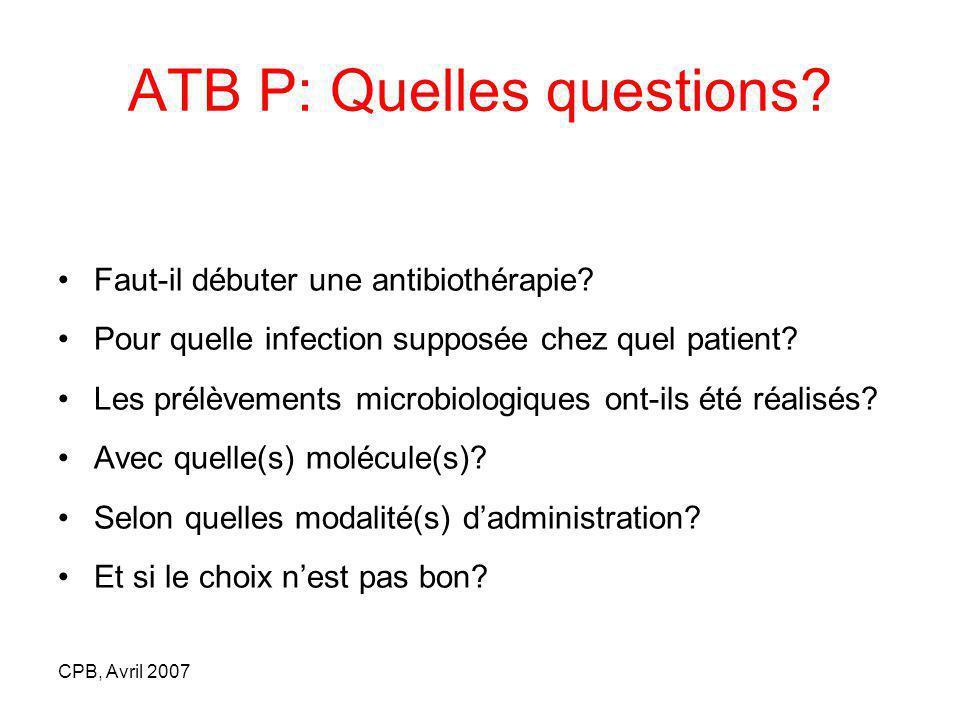 ATB P: Quelles questions
