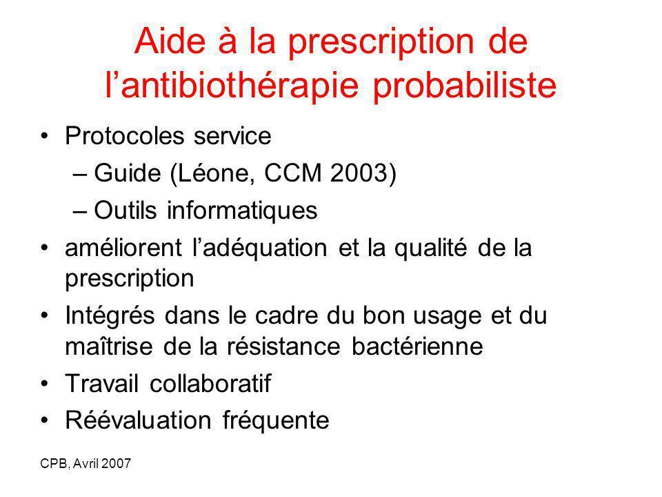 Aide à la prescription de l'antibiothérapie probabiliste