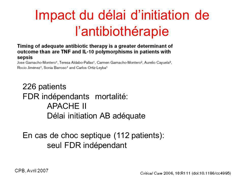 Impact du délai d'initiation de l'antibiothérapie