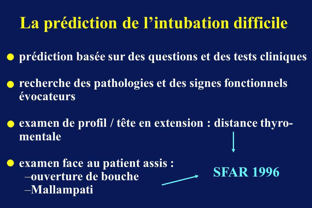 La prédiction de l'intubation difficile