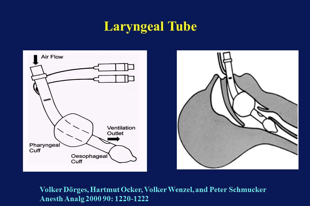 Laryngeal Tube Volker Dörges, Hartmut Ocker, Volker Wenzel, and Peter Schmucker Anesth Analg 2000 90: 1220-1222.