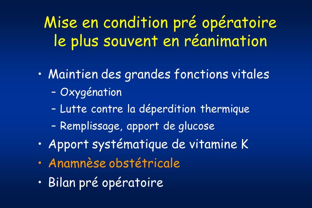 Mise en condition pré opératoire le plus souvent en réanimation