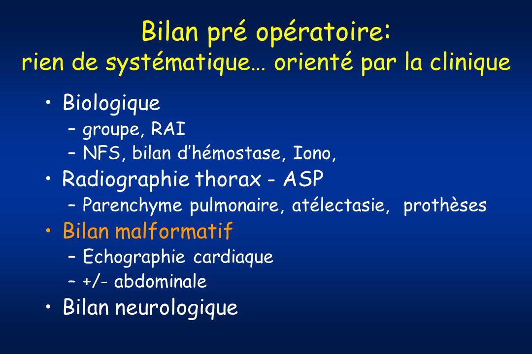 Bilan pré opératoire: rien de systématique… orienté par la clinique