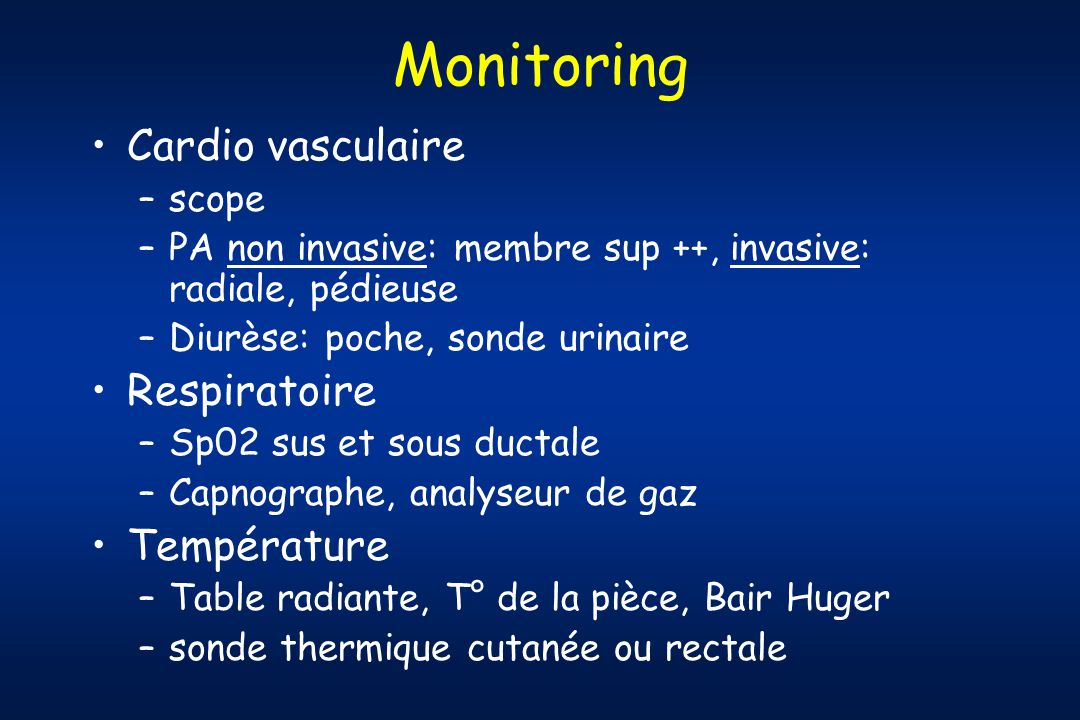 Monitoring Cardio vasculaire Respiratoire Température scope