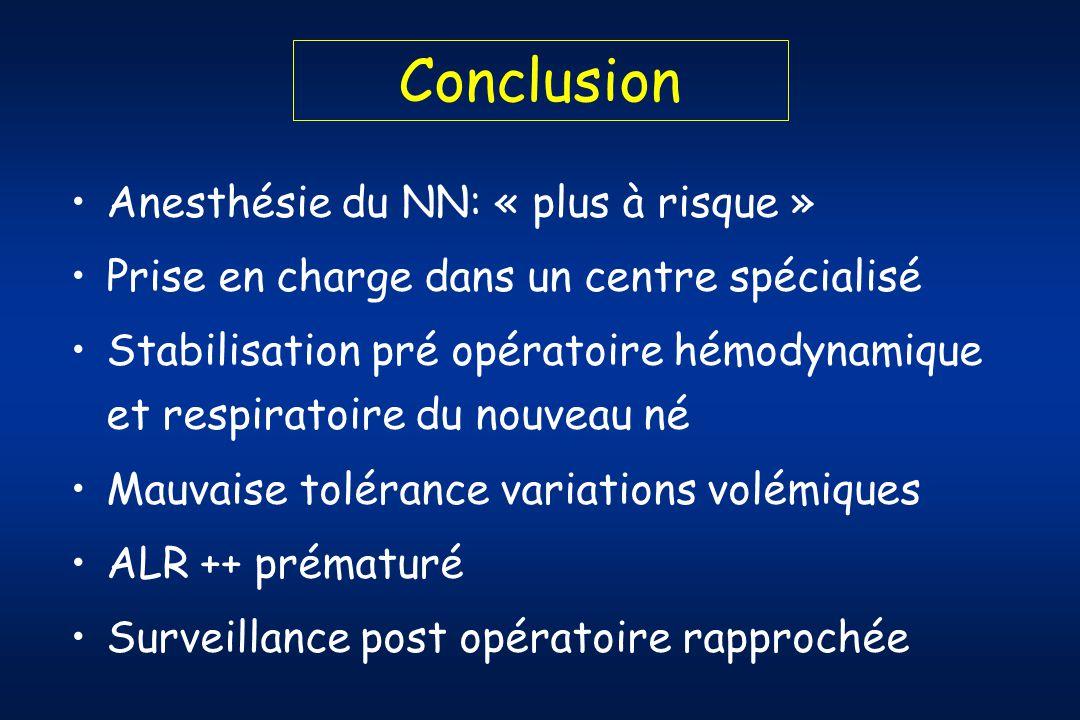 Conclusion Anesthésie du NN: « plus à risque »