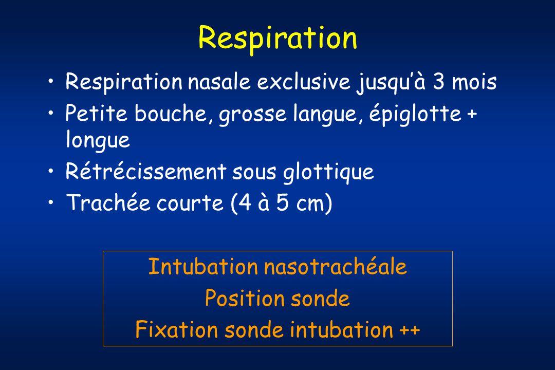 Respiration Respiration nasale exclusive jusqu'à 3 mois