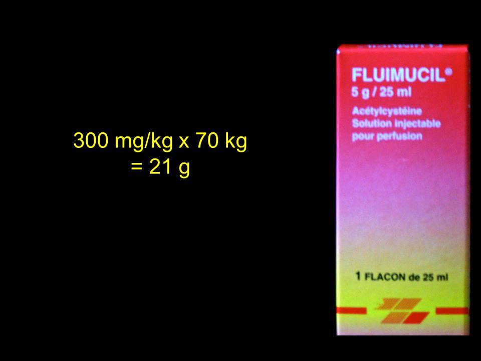 300 mg/kg x 70 kg = 21 g