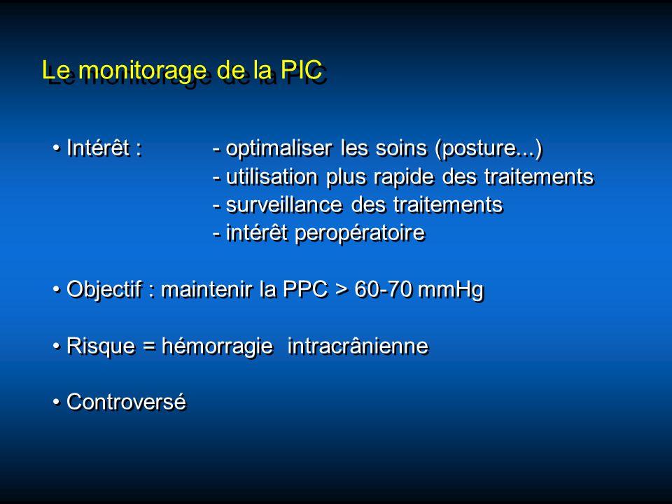 Le monitorage de la PIC • Intérêt : - optimaliser les soins (posture...) - utilisation plus rapide des traitements.