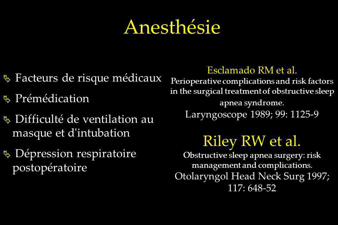 Anesthésie Riley RW et al. Facteurs de risque médicaux Prémédication