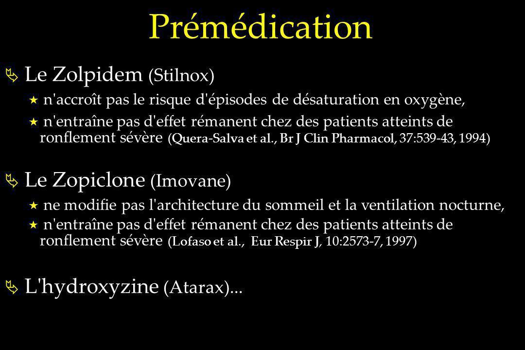 Prémédication Le Zolpidem (Stilnox) Le Zopiclone (Imovane)